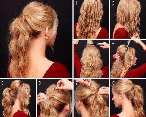 Как сделать хвост только из волос 452