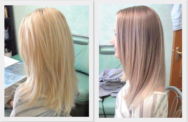 Тонирование волос светлых фото до и после