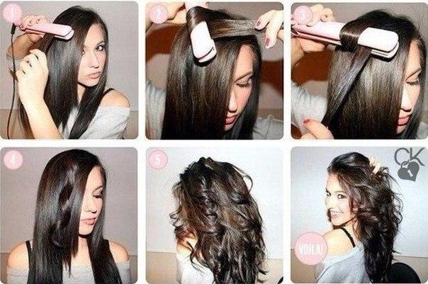 Голливудские локоны на длинные волосы
