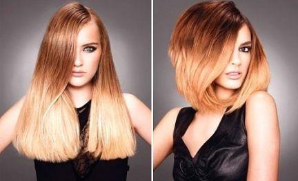 омбре на длинных и средних волосах