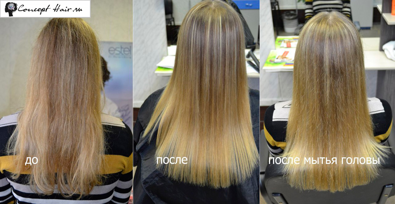 Кератиновое выпрямление волос фото через месяц